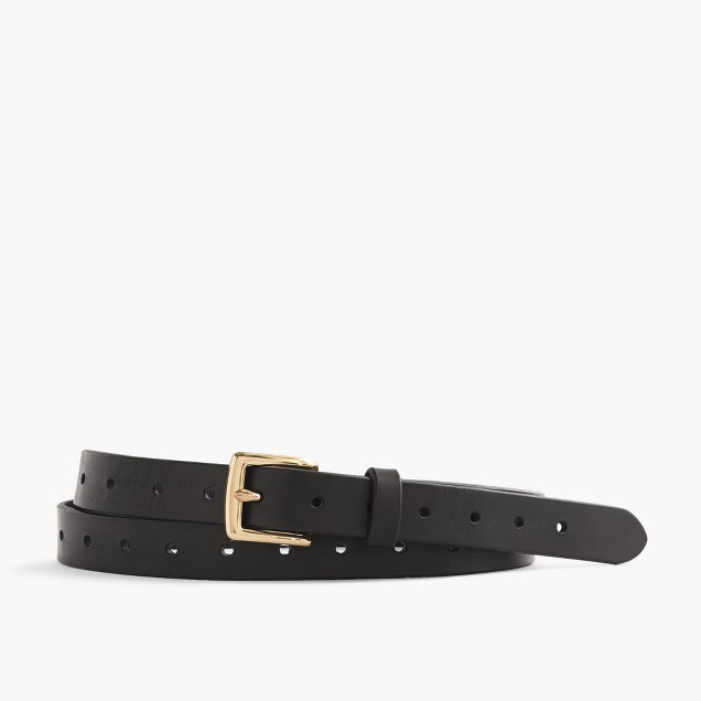Perforated Italian leather belt