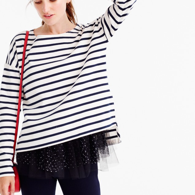 J crew for net a porter striped t shirt with tulle women for Net a porter