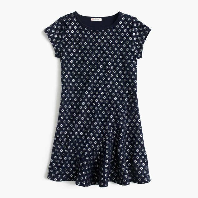 Girls' glitter ruffle-hem dress