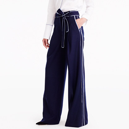j crew for net a portera wide leg pant with striped
