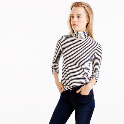Tissue turtleneck T-shirt in stripe