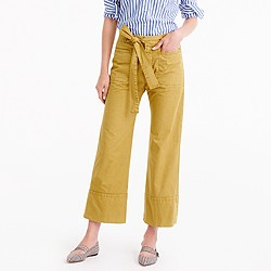 Cropped pant in Italian chino with tie
