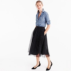 J.Crew for NET-A-PORTER double-pleated midi skirt in flocked tulle