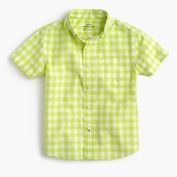 Kids' short-sleeve Secret Wash shirt in bright gingham