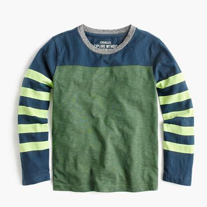 Boys' long-sleeve stripe-sleeve T-shirt
