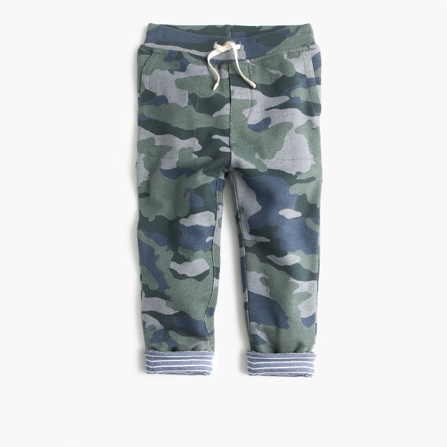 Boys' jersey-lined cozy camo sweatpant