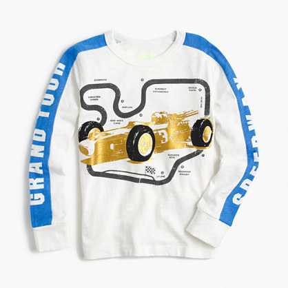 Boys' long-sleeve metallic race car T-shirt