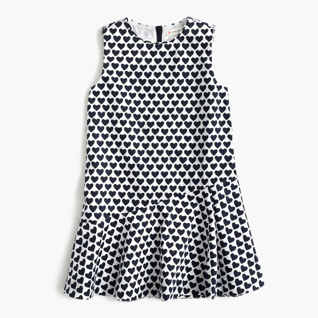 Girls' heart-print ruffle-hem dress