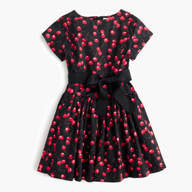 Girls' belted dress in cherry print