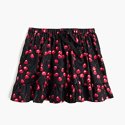 Girls' pull-on skirt in cherry print