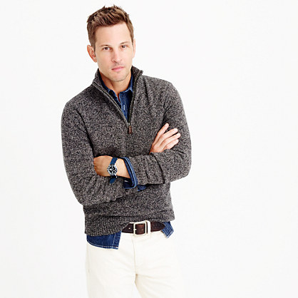 Marled lambswool half-zip sweater