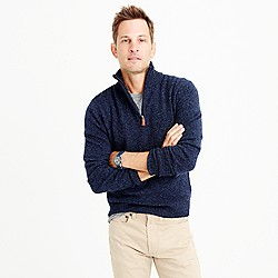 Slim marled lambswool half-zip sweater