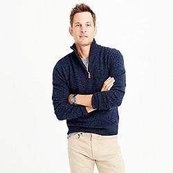 Slim marled lambswool half-zip sweater