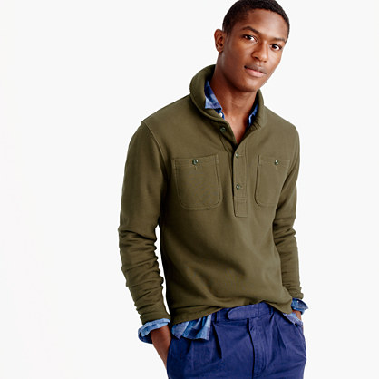 Wallace & Barnes fleece shawl henley pullover