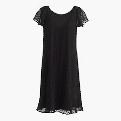 Ruffled dress in textured clip-dot