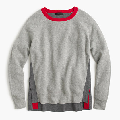 Colorblock crewneck sweater with side snaps