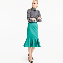 Collection fluted skirt in Italian satin