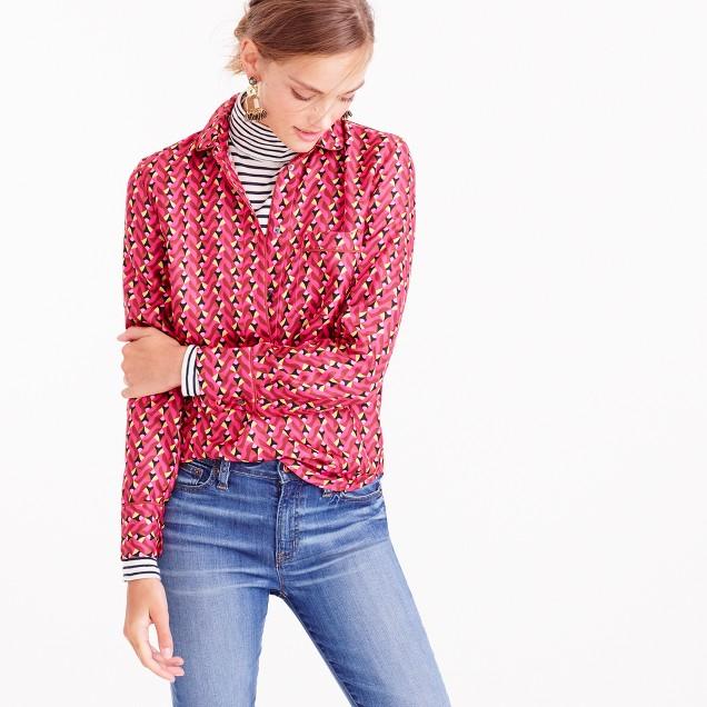 Collection pajama top in Ratti® hibiscus herringbone print