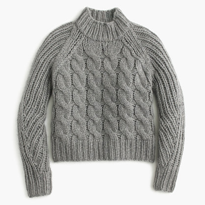 Collection Italian cashmere-mohair cable mock neck sweater