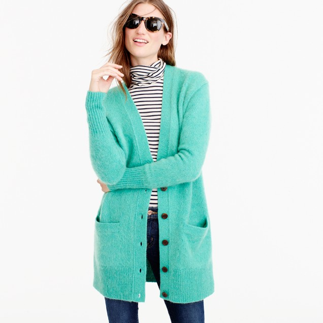 Collection cardigan in Italian cashmere-mohair