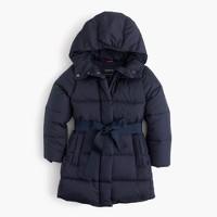 Girls' tie-front puffer jacket