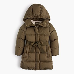 Girls' tie-front puffer jacket