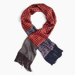 Lightweight silk scarf in printed patchwork