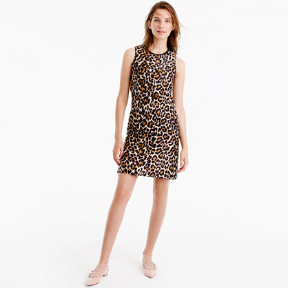 A-line shift dress in leopard print