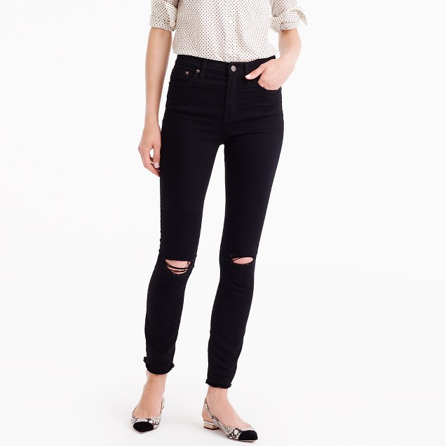 "Petite 9"" distressed lookout high-rise jean in true black"
