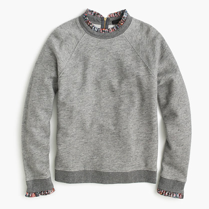 Metallic ruffle-neck sweatshirt