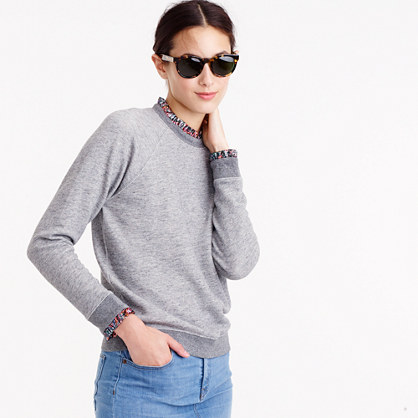 Metallic ruffle-neck sweatshirt