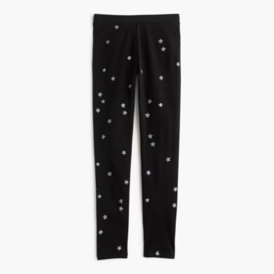 Girls' everyday leggings in silver constellation print