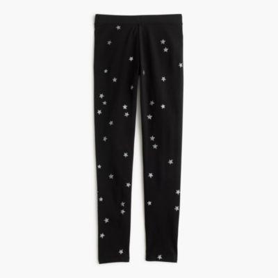 Girls' everyday leggings in silver constellation print