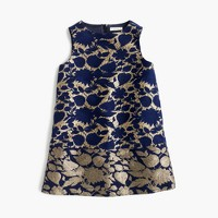 Girls' A-line dress in reverse metallic jacquard