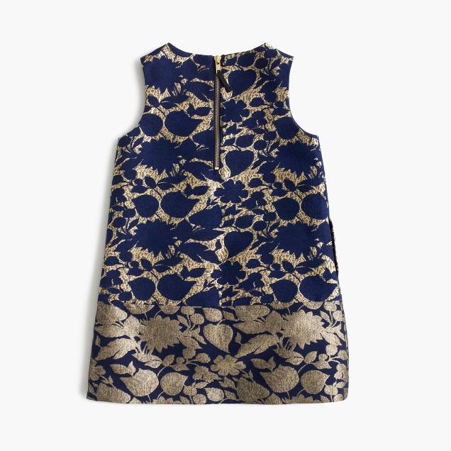 Girls' A-line dress in reverse metallic jacquard