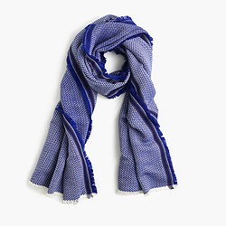 Fringe scarf in cobalt sea