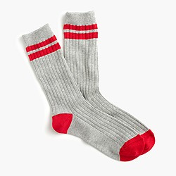 Knit trouser socks with stripes