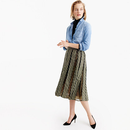 Collection lace panel skirt in Ratti® geometric tile print