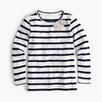 Girls' striped embellished metallic flower T-shirt