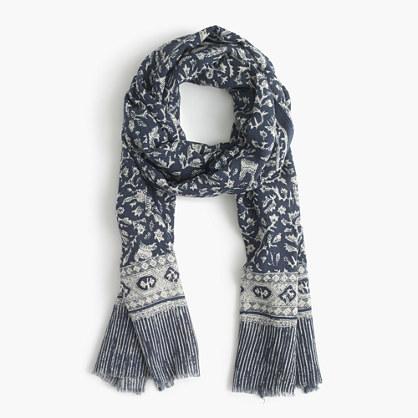 Lightweight wool-silk scarf in batik leaf print