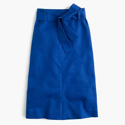 Tie-waist skirt in cotton-linen