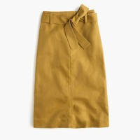 Tie-waist skirt in cotton-linen