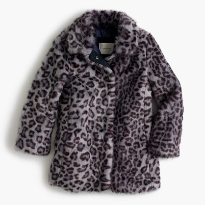 Girls' leopard faux-fur coat