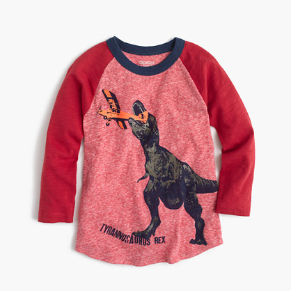 Boys' dino plane three-quarter-sleeve T-shirt in the softest jersey