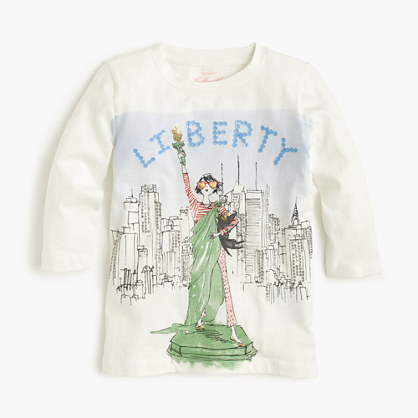 Girls' Olive Statue of Liberty T-shirt