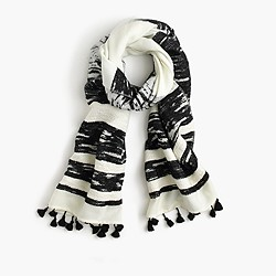 Textured striped scarf