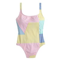 Mixed-stripe scoopback one-piece swimsuit