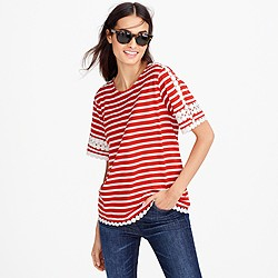 Lace embroidered top in stripe
