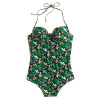 Underwire halter one-piece swimsuit in Ratti® lotus floral print