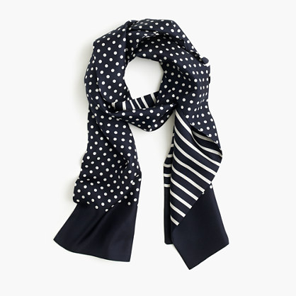 J.Crew for NET-A-PORTER® Collection double-faced silk skinny scarf